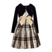 Bonnie Jean® Plaid Dress & Velvet Cardigan - Girls 7-16 and Plus