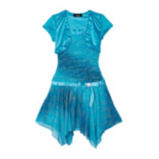 by&by Girl Shirred Dress and Shrug - Girls Plus