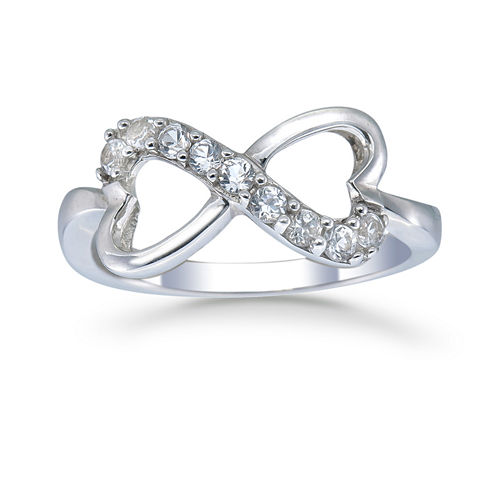 Womens White Sapphire Sterling Silver Delicate Ring