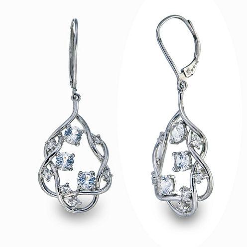 White Sapphire Sterling Silver Drop Earrings