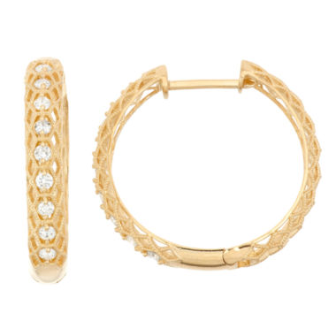 jcpenney.com | 3/4 CT. T.W. White Diamond 10K Gold Hoop Earrings