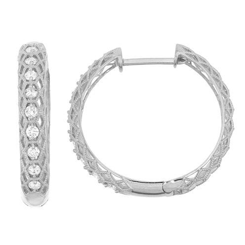 3/4 CT. T.W. White Diamond 10K Gold Hoop Earrings
