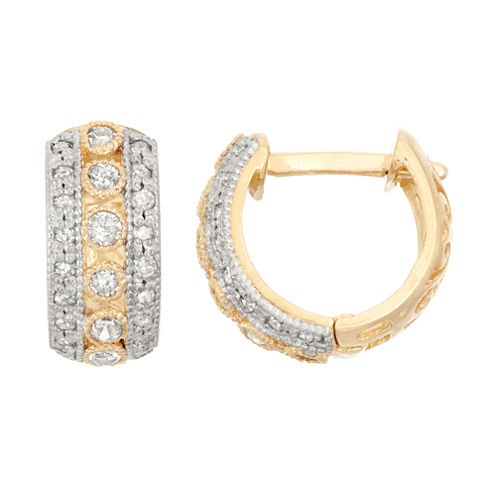 1/3 CT. T.W. White Diamond 10K Gold Hoop Earrings