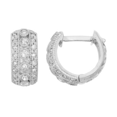 jcpenney.com | 1/3 CT. T.W. White Diamond 10K Gold Hoop Earrings