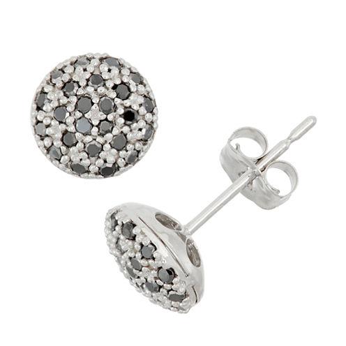 1/4 CT. T.W. Round Black Diamond 10K Gold Stud Earrings