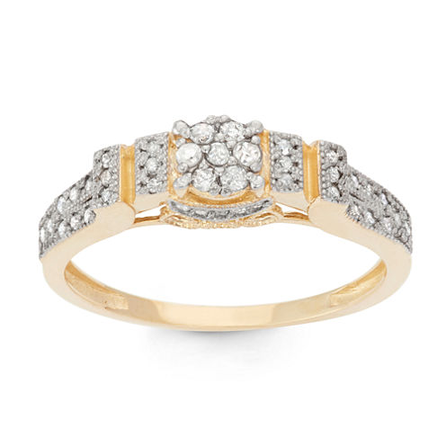 Womens 1/3 CT. T.W. White Diamond 10K Gold Cocktail Ring
