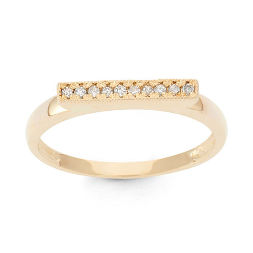 Womens 1/10 CT. T.W. White Diamond 10K Gold Band