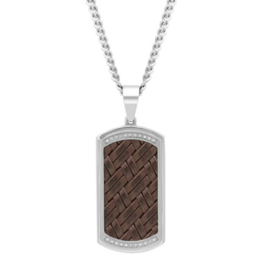 jcpenney.com | Mens 1/7 CT. T.W. White Diamond Stainless Steel Pendant Necklace