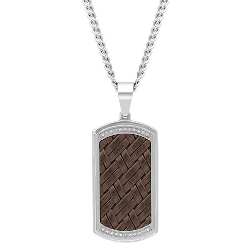 Mens 1/7 CT. T.W. White Diamond Stainless Steel Pendant Necklace