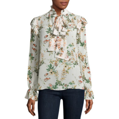 jcpenney.com | Belle + Sky Long Sleeve Bow Top