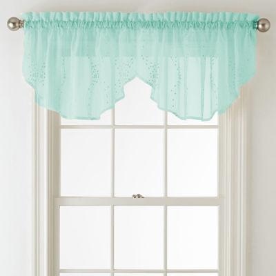 Liz Claiborne® Lisette Ogee Embroidery Sheer Rod-Pocket Ascot Valance