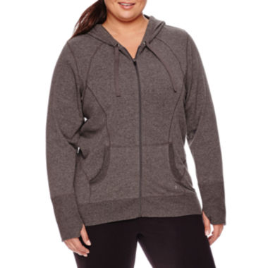 jcpenney.com | Xersion™ Long-Sleeve Curve Seam Front-Zip Hoodie - Plus