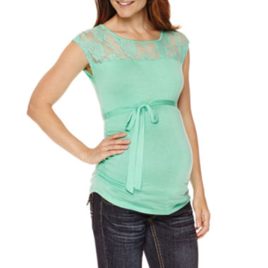 jcpenney.com | Planet Motherhood Maternity Sleeveless Lace-Yoke Tee