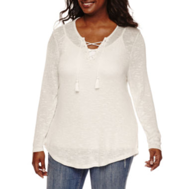 jcpenney.com | Embossed Long-Sleeve Marled Lace-Up Hacci Pullover - Juniors Plus