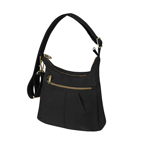 Anti-Theft Signature Top Zip Shoulder Bag