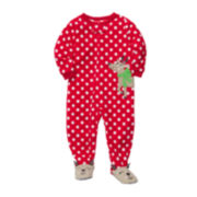 Carter's® Reindeer Microfleece Footed Pajamas - Girls 2t-5t
