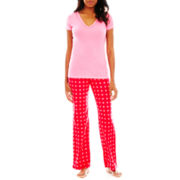 Flirtitude® Microfleece Short-Sleeve Tee and Pants Pajama Set