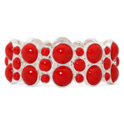 Liz Claiborne® Silver-Tone Red Milgrain Stretch Bracelet