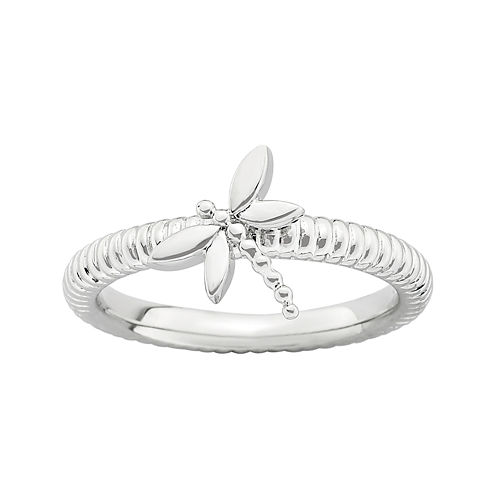 Personally Stackable Sterling Silver Stackable Dragonfly Ring