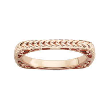 jcpenney.com | Personally Stackable 18K Rose Gold Over Sterling Silver Textured Square Ring