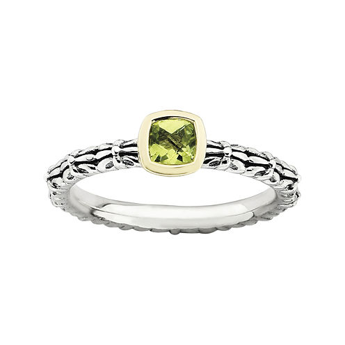 Personally Stackable Genuine Peridot Oxidized Two-Tone Stackable Ring