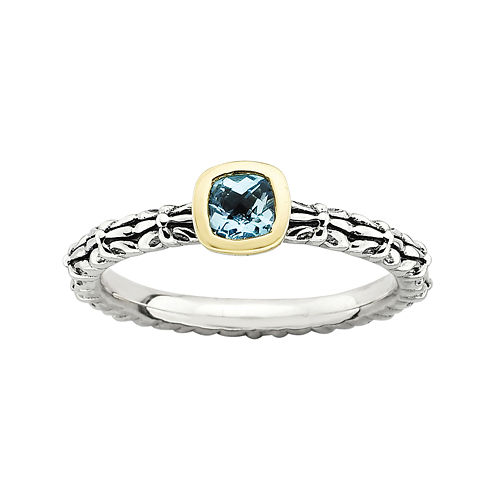 Personally Stackable Genuine Blue Topaz Oxidized Two-Tone Stackable Ring