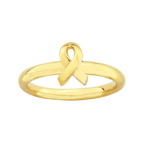Personally Stackable 18K Yellow Gold Over Sterling Awareness Ribbon Ring