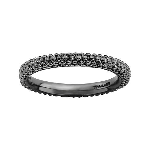Personally Stackable Black Sterling Silver Beaded Dome Ring