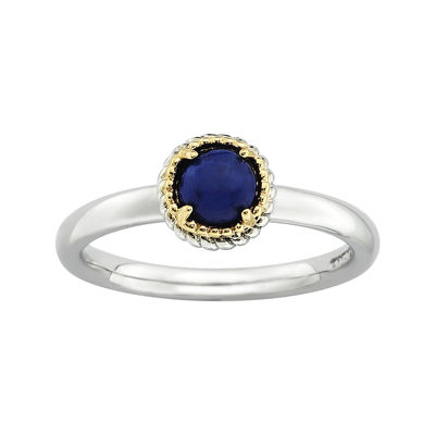 Personally Stackable Genuine Blue Lapis Two-Tone Stackable Ring