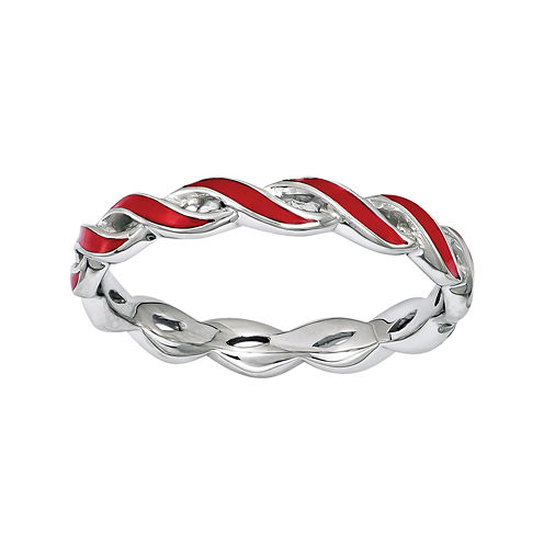 Personally Stackable Red Enamel Stackable Crossover Ring