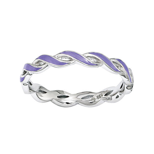 Personally Stackable Purple Enamel Stackable Crossover Ring