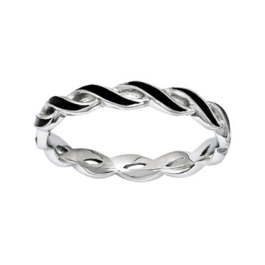 jcpenney.com | Personally Stackable Black Enamel Stackable Crossover Ring