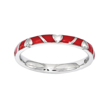 jcpenney.com | Personally Stackable Sterling Silver Red Enamel Heart Ring