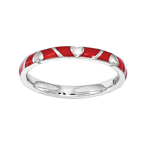 Personally Stackable Sterling Silver Red Enamel Heart Ring