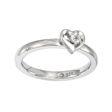 jcpenney.com | Personally Stackable Sterling Silver White Topaz Heart Ring