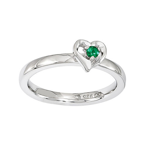 Personally Stackable Sterling Silver Lab-Created Emerald Heart Ring