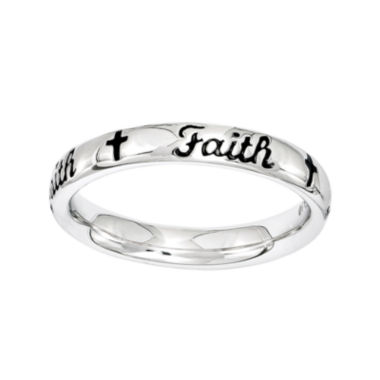 "jcpenney.com | Personally Stackable Sterling Silver Black Enamel ""Faith"" Ring"