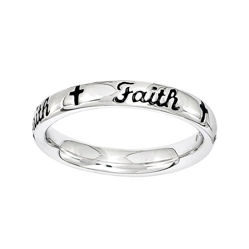 """Personally Stackable Sterling Silver Black Enamel """"Faith"""" Ring"""