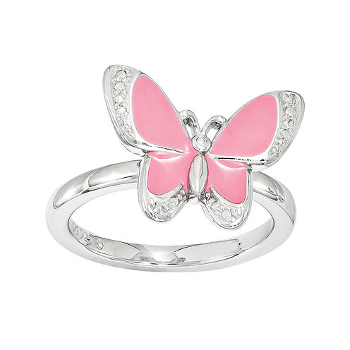 Personally Stackable Sterling Silver Butterfly Stackable Ring