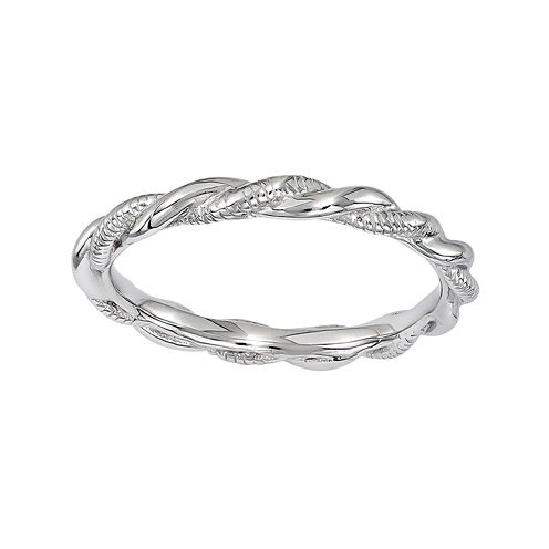 Personally Stackable Sterling Silver Twisted Stackable Ring