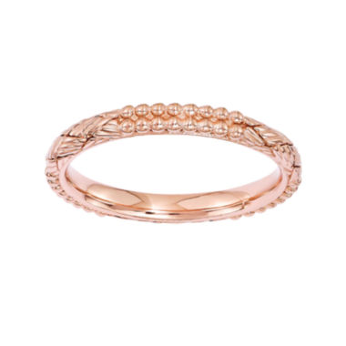 jcpenney.com | Personally Stackable 18K Rose Gold Over Sterling Silver Patterned Stackable Ring