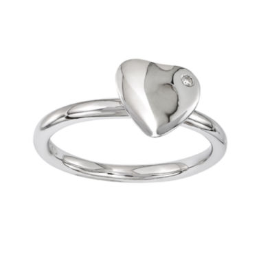 jcpenney.com | Personally Stackable Diamond-Accent Sterling Silver Heart Stackable Ring