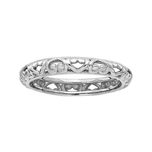 Personally Stackable Sterling Silver Carved Stackable Ring