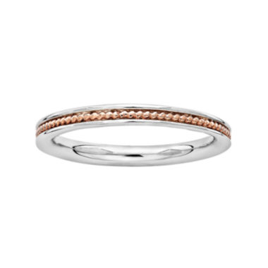 jcpenney.com | Personally Stackable 18K Rose Gold Over Sterling Silver Channel Stackable Ring