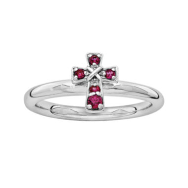 jcpenney.com | Personally Stackable Lab-Created Ruby Sterling Silver Cross Stackable Ring