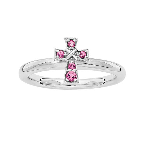 Personally Stackable Genuine Pink Tourmaline Sterling Silver Cross Ring