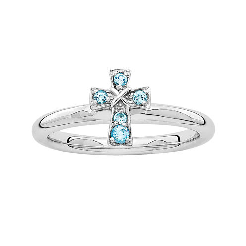 Personally Stackable Genuine Blue Topaz Sterling Silver Cross Stackable Ring