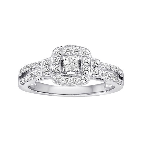 1/2 CT. T.W. Certified Diamond 10K White Gold Bridal Ring