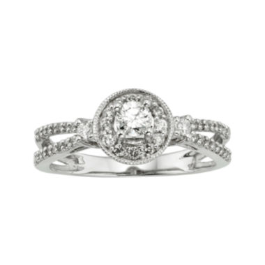 jcpenney.com | 1/2 CT. T.W. Certified Diamond 10K White Gold Bridal Ring