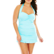 a.n.a® Shirred Halter 1-Piece Swimdress - Plus
